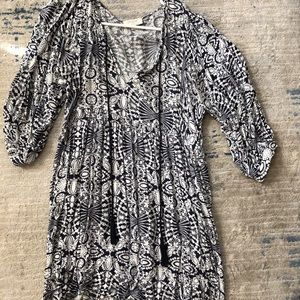 Umgee patterned tunic top with tassels